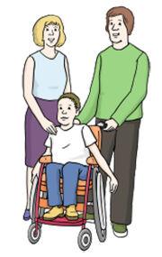 Grafik: Eltern mit einem Kind in der Karre