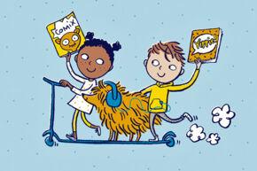 Ein Mädchen, ein Junge und ein Hund auf einem Roller