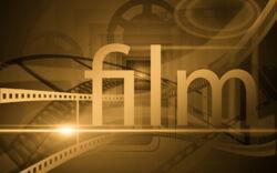 """Schriftzug """"film"""" - im Hintergrund ein Filmprojektor"""