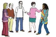 Illustration: Menschen begrüßen sich
