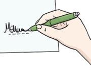 Grafik: Jemand unterschreibt ein Dokument