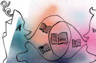 Illustration: Zwei Personen sprechen miteinander über Bücher