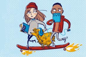 Ein Mächen, ein Junge und ein Hund auf einem Skateboard