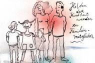Illustration: Eine Familie mit zwei Kindern und Pippi Langstrumpf
