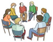 Illustration. Menschen sitzen in einem Kreis