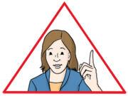 Frau in einem dreieckigen Achtung-Schild