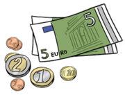 Grafik: Geldmünzen und Geldscheine