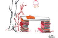 """Illustration: Zu einem Schreibtisch aufgetürmte Bücher unter einem """"Bücherbaum"""""""