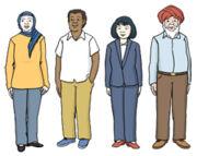 Grafik: Zwei Frauen und zwei Männer aus unterschiedlichen Kulturen