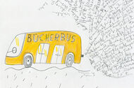 Illustration: gelber Bücherbus