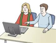 Grafik: Paar sitzt mit einem Laptop am Tisch