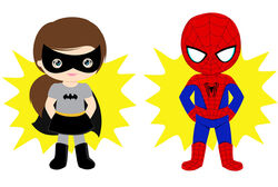 Illustration: Badgirl und Spiderman