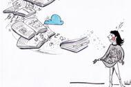 Illustration: Eine junge Frau fängt fliegende Bücher