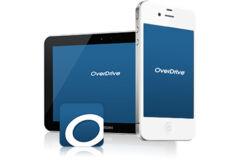 OverDrive-Logo auf Smartphone und Tablet