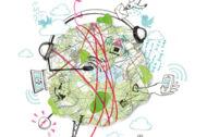 Illustration: Die Weltkugel mit technischem Zubehör