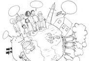 Illustration: Weltkugel mit Menschen, Tieren, Häusern und mehr