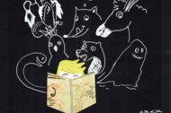 Illustration: Ein Junge liest - umringt von den Tieren aus der Geschichte