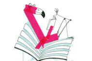 Illustration: Ein Flamingo sitzt im Logo der Bücherhallen und liest ein Buch