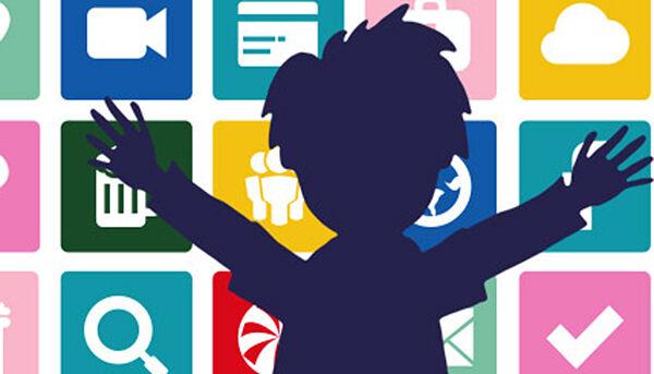 Illustration: Kind vor einem Banner mit Apps