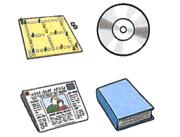 Medienpaket mit Brettspiel, CD, Zeitung und Buch
