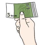 Grafik: eine Hand hält einen Geldschein