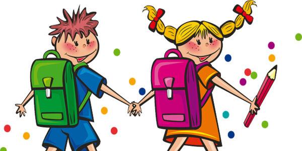 Illustration: Junge und Mädchen mit Schulranzen