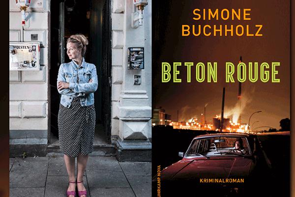 """Autorin Simine buchholz und Cover ihres Buches """"Beton Rouge"""""""