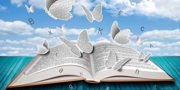 Aufgeschlagenes Buch, darüber ein blauer Himmel mit weißen Wolken und Schmetterlingen