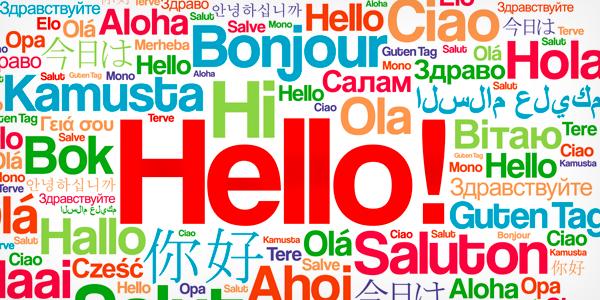 """Illustration: Das Wort """"Hallo"""" in verschiedenen Sprachen"""