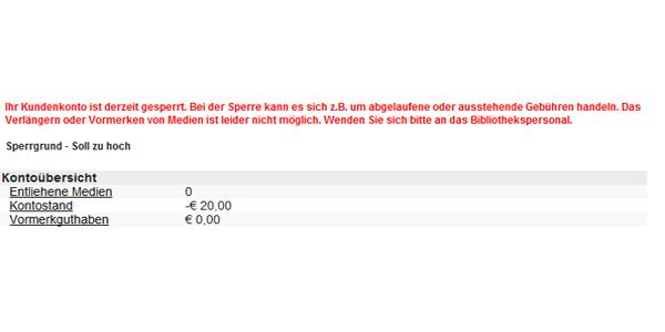 screenshot eines gesperrten Kundenkontos