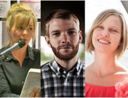 Drei Hamburger Autoren: Zwei Frauen - in der Mitte ein Mann