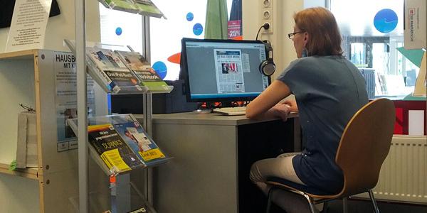 Kunden-PC in der Bücherhalle Osdorfer Born