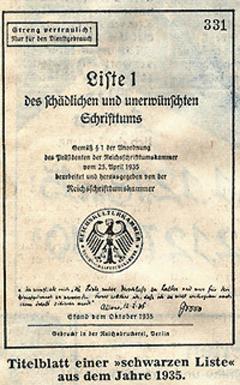 Sogenannte Schwarze Liste der Nationalsozialisten