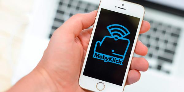 MobyKlick-Symbol auf einem Smartphone